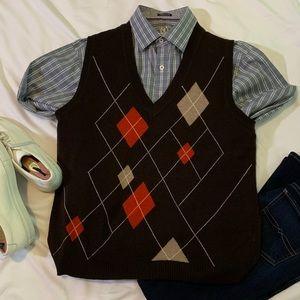 """Gerry Weber Brown Men""""s  V Neck Sweater Vest"""